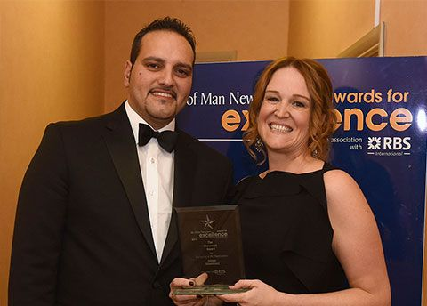 Isle of Man Newspapers Awards for Excellence 2015 at the Villa Marina - Tracey Leahy of MannVend (right) wins the Claremont Award for Marketing, presented by the Claremont's Ricardo Campos (left)