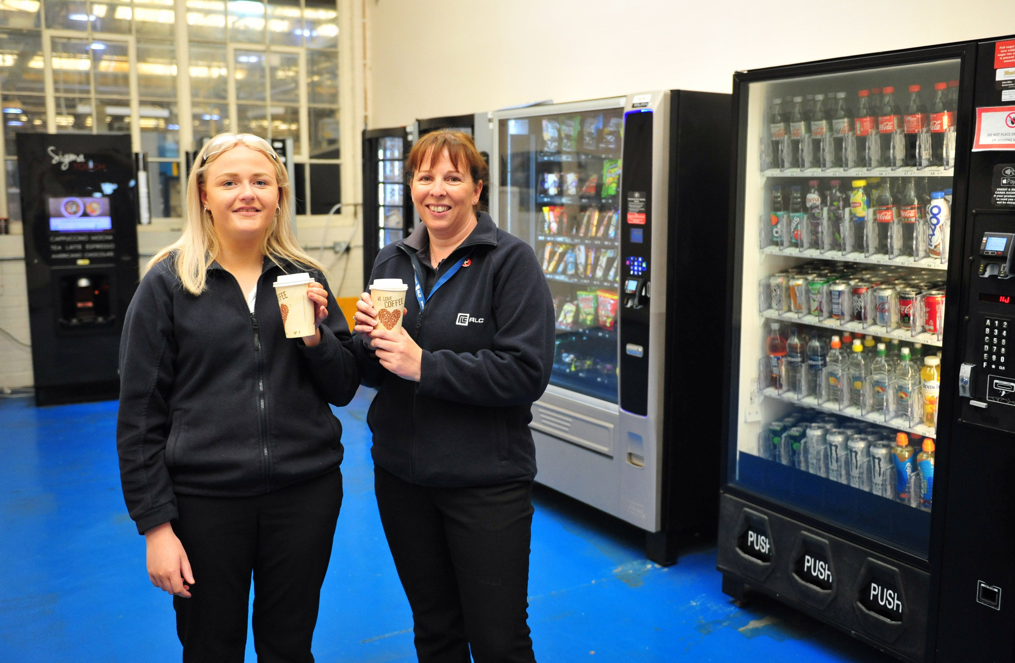 At Ronaldsway Aircraft Company Ltd are (left to right) Chloe Allcote, Receptionist, and Sam Dolby, HR Manager